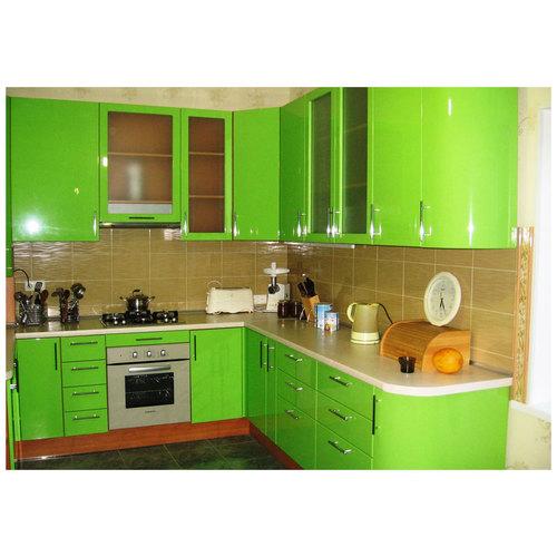 Салатный кухонный гарнитур угловой фото